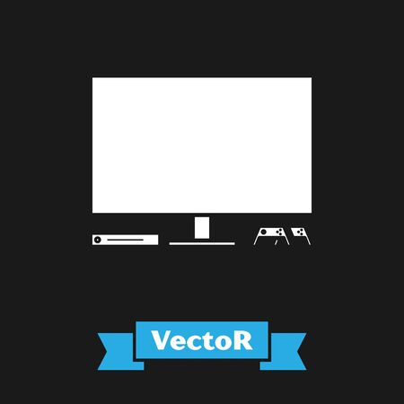 White Video game console icon isolated on black background. Game console with joystick and lcd television. Vector Illustration  イラスト・ベクター素材