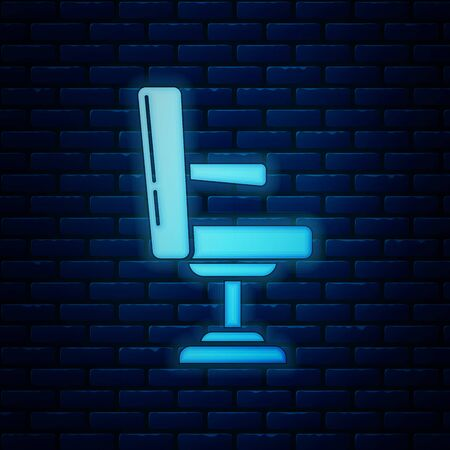 Glowing neon Barbershop chair icon isolated on brick wall background. Barber armchair sign. Vector Illustration