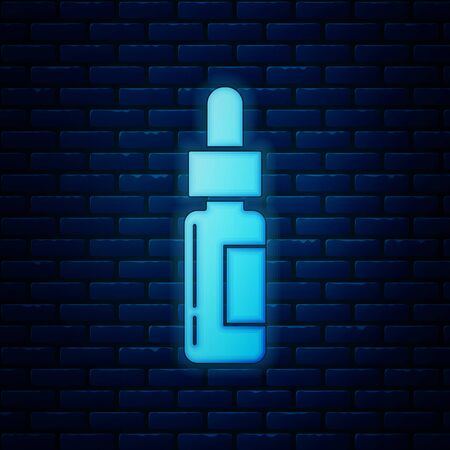 Glowing neon Glass bottle with a pipette. Vial with a pipette inside icon isolated on brick wall background. Container for medical and cosmetic product. Vector Illustration Stock Illustratie