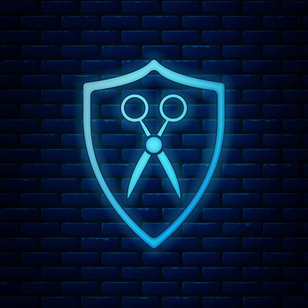 Glowing neon Scissors hairdresser and shield icon isolated on brick wall background. Hairdresser, fashion salon and barber sign. Barbershop symbol. Vector Illustration