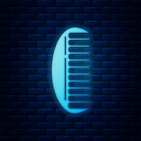 Glowing neon Hairbrush icon isolated on brick wall background. Comb hair sign. Barber symbol. Vector Illustration