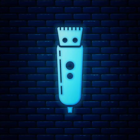 Glowing neon Electrical hair clipper or shaver icon isolated on brick wall background. Barbershop symbol. Vector Illustration