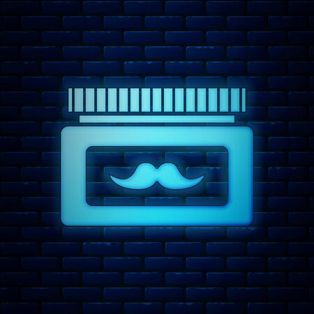 Glowing neon Cream or lotion cosmetic jar icon isolated on brick wall background. Body care products for men. Vector Illustration