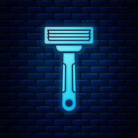 Glowing neon Shaving razor icon isolated on brick wall background. Vector Illustration Vektoros illusztráció