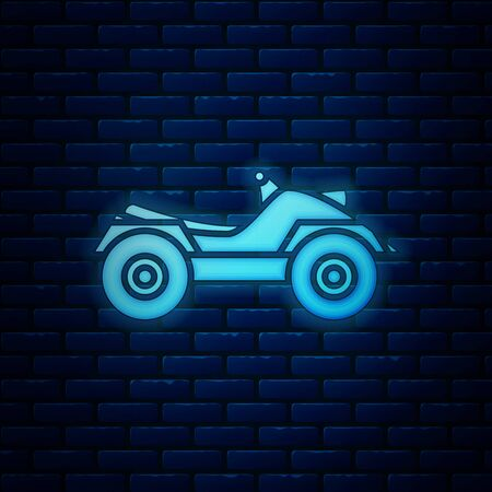 Glowing neon All Terrain Vehicle or ATV motorcycle icon isolated on brick wall background. Quad bike. Extreme sport. Vector Illustration
