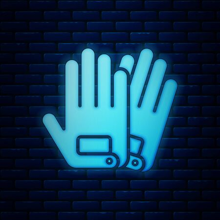 Glowing neon Gloves icon isolated on brick wall background. Extreme sport. Sport equipment. Vector Illustration Illustration