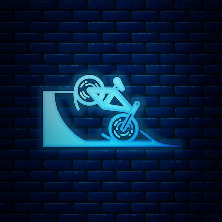 Glowing neon Bicycle on street ramp icon isolated on brick wall background. Skate park. Extreme sport. Sport equipment. Vector Illustration