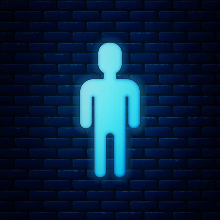Glowing neon User of man in business suit icon isolated on brick wall background. Business avatar symbol user profile icon. Male user sign. Vector Illustration