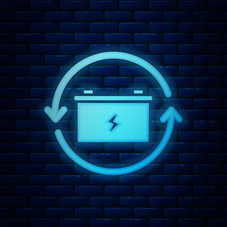 Glowing neon Battery with recycle symbol line icon isolated on brick wall background. Battery with recycling symbol - renewable energy concept. Vector Illustration Illustration
