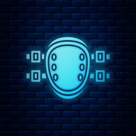 Glowing neon Knee pads icon isolated on brick wall background. Extreme sport. Sport equipment. Skateboarding, bicycle, roller skating protective gear. Vector Illustration Illusztráció