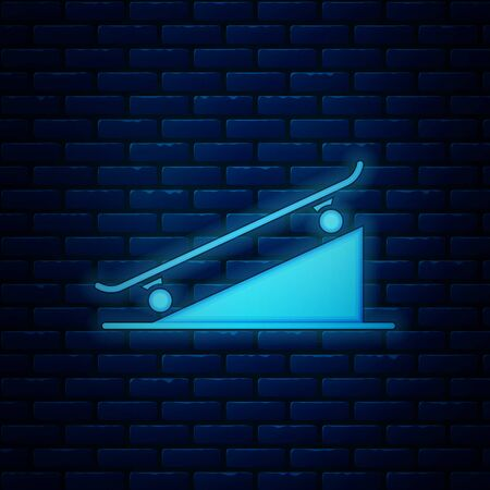Glowing neon Skateboard on street ramp icon isolated on brick wall background. Extreme sport. Sport equipment. Vector Illustration