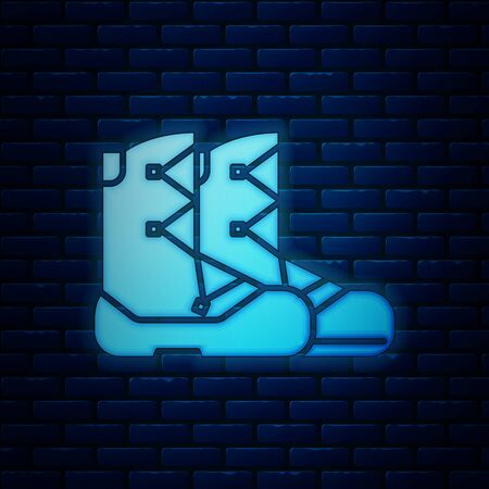 Glowing neon Boots icon isolated on brick wall background. Vector Illustration