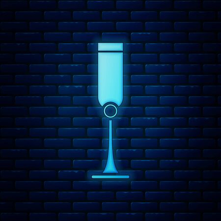 Glowing neon Jewish goblet icon isolated on brick wall background. Jewish wine cup for kiddush. Kiddush cup for Shabbat. Vector Illustration