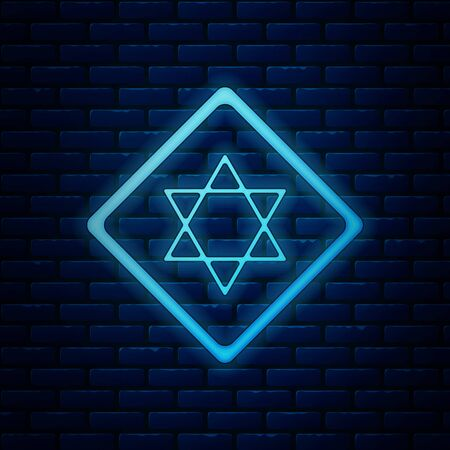 Glowing neon Star of David icon isolated on brick wall background. Jewish religion symbol. Symbol of Israel. Vector Illustration
