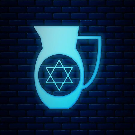 Glowing neon Decanter with star of david icon isolated on brick wall background. Pottery jug. Organic product in carafe. Vector Illustration