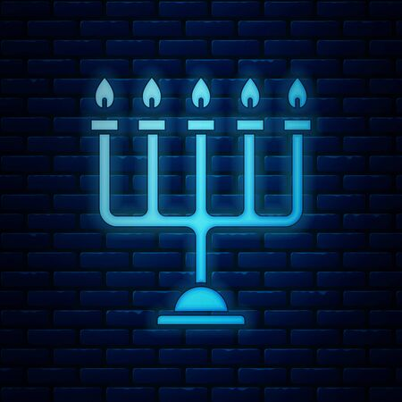 Glowing neon Hanukkah menorah icon isolated on brick wall background. Hanukkah traditional symbol. Holiday religion, jewish festival of Lights. Vector Illustration Ilustracja