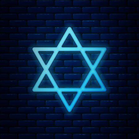 Glowing neon Star of David icon isolated on brick wall background. Jewish religion symbol. Symbol of Israel. Vector Illustration Stock Vector - 130925929