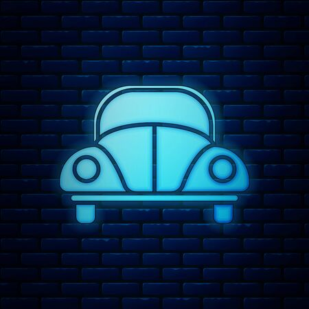 Glowing neon Car beetle icon isolated on brick wall background. Vector Illustration