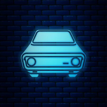 Glowing neon Car icon isolated on brick wall background. Front view. Vector Illustration Иллюстрация