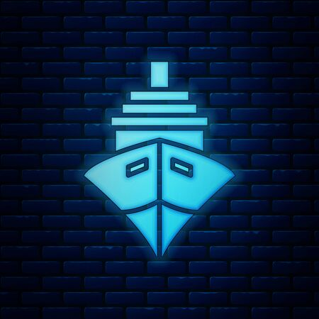 Glowing neon Cargo ship icon isolated on brick wall background. Vector Illustration Illustration