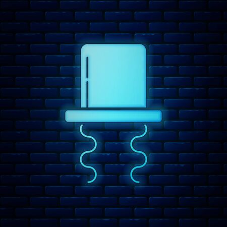 Glowing neon Orthodox jewish hat with sidelocks icon isolated on brick wall background. Jewish men in the traditional clothing. Judaism symbols. Vector Illustration