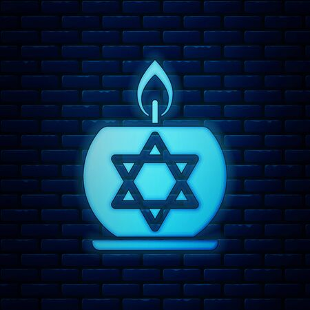 Glowing neon Burning candle in candlestick with star of david icon isolated on brick wall background. Cylindrical candle stick with burning flame. Vector Illustration