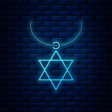 Glowing neon Star of David necklace on chain icon isolated on brick wall background. Jewish religion symbol. Symbol of Israel. Jewellery and accessory. Vector Illustration