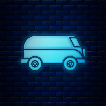 Glowing neon Retro minivan icon isolated on brick wall background. Old retro classic traveling van. Vector Illustration