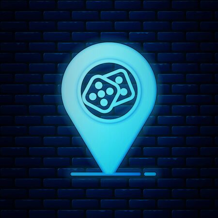 Glowing neon Casino location icon isolated on brick wall background. Game dice icon. Vector Illustration