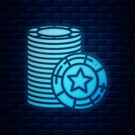 Glowing neon Casino chips icon isolated on brick wall background. Casino gambling. Vector Illustration