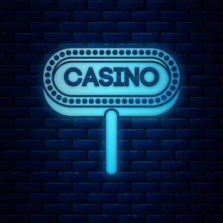 Glowing neon Casino signboard icon isolated on brick wall background. Vector Illustration