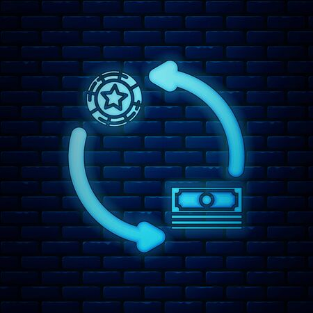 Glowing neon Casino chips exchange on stacks of dollars icon isolated on brick wall background. Vector Illustration  イラスト・ベクター素材