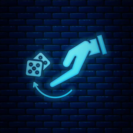 Glowing neon Human hand throwing game dice icon isolated on brick wall background. Vector Illustration