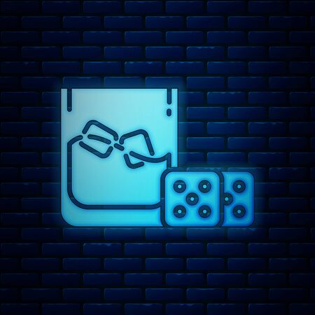Glowing neon Game dice and glass of whiskey with ice cubes icon isolated on brick wall background. Casino gambling. Vector Illustration