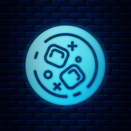 Glowing neon Glass of whiskey and ice cubes icon isolated on brick wall background. Vector Illustration