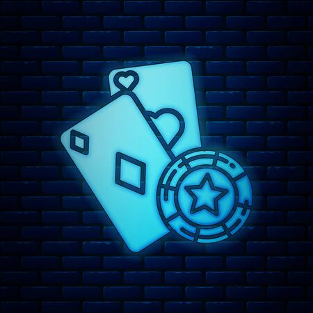 Glowing neon Casino chip and playing cards icon isolated on brick wall background. Casino poker. Vector Illustration