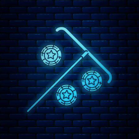 Glowing neon Stick for chips icon isolated on brick wall background. Casino gambling. Vector Illustration