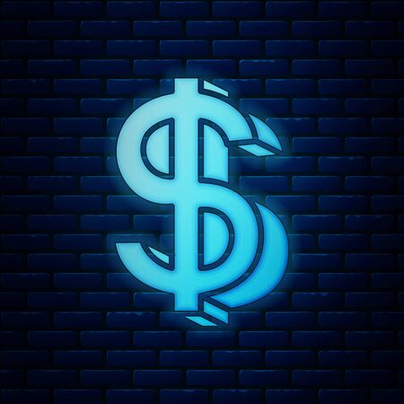 Glowing neon Dollar symbol icon isolated on brick wall background. Cash and money, wealth, payment symbol. Casino gambling. Vector Illustration
