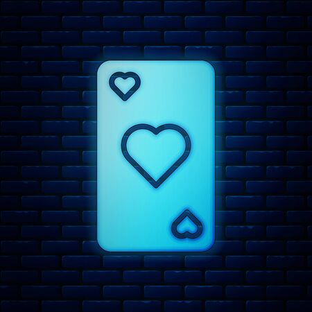 Glowing neon Playing card with heart symbol icon isolated on brick wall background. Casino gambling. Vector Illustration  イラスト・ベクター素材