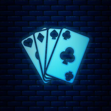 Glowing neon Playing cards icon isolated on brick wall background. Casino gambling. Vector Illustration  イラスト・ベクター素材