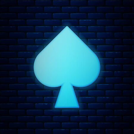 Glowing neon Playing card with spades symbol icon isolated on brick wall background. Casino gambling. Vector Illustration