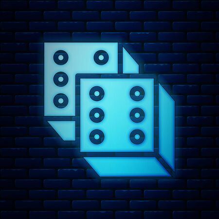 Glowing neon Game dice icon isolated on brick wall background. Casino gambling. Vector Illustration Иллюстрация