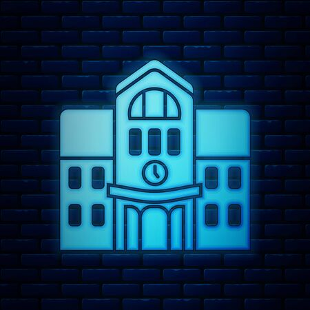 Glowing neon School building icon isolated on brick wall background. Vector Illustration