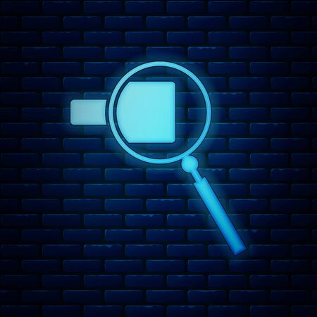 Glowing neon Magnifying glass icon isolated on brick wall background. Search, focus, zoom, business symbol. Vector Illustration Ilustração