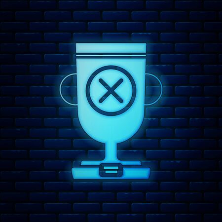 Glowing neon Award cup icon isolated on brick wall background. Winner trophy symbol. Championship or competition trophy. Sports achievement sign. Vector Illustration 向量圖像