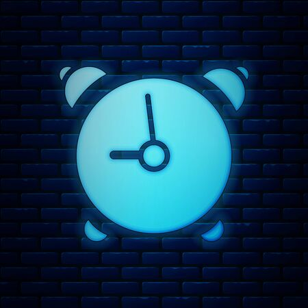 Glowing neon Alarm clock icon isolated on brick wall background. Wake up, get up concept. Time sign. Vector Illustration