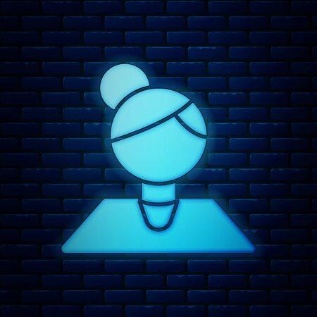 Glowing neon Teacher icon isolated on brick wall background. Vector Illustration 向量圖像