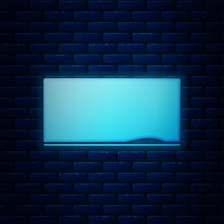 Glowing neon Chalkboard icon isolated on brick wall background. School Blackboard sign. Vector Illustration Çizim