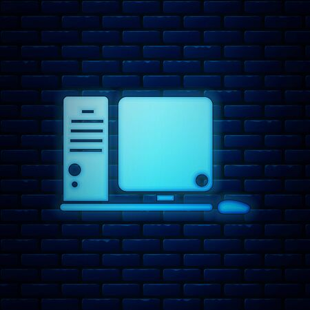 Glowing neon Computer monitor with keyboard and mouse icon isolated on brick wall background. PC component sign. Vector Illustration 版權商用圖片 - 130818859