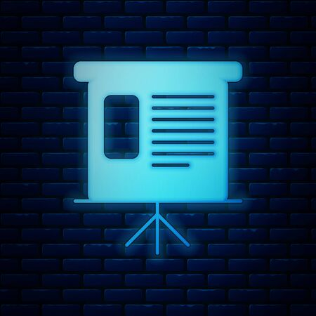 Glowing neon Presentation financial business board with graph, schedule, chart, diagram, infographic, pie graph icon isolated on brick wall background. Vector Illustration